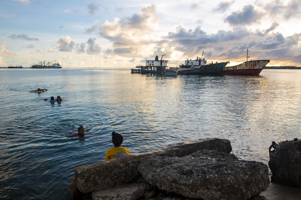 Children in the Marshall Islands playing in the lagoon after school. (Photo by Daniel Lin)