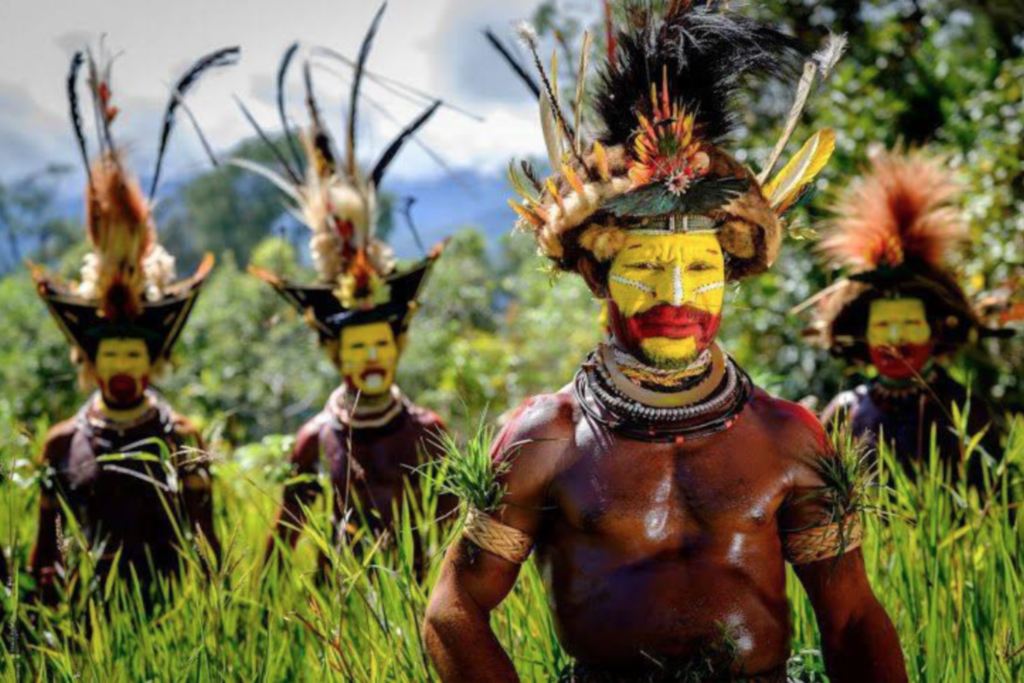 Huli wigmen with their full traditional attire